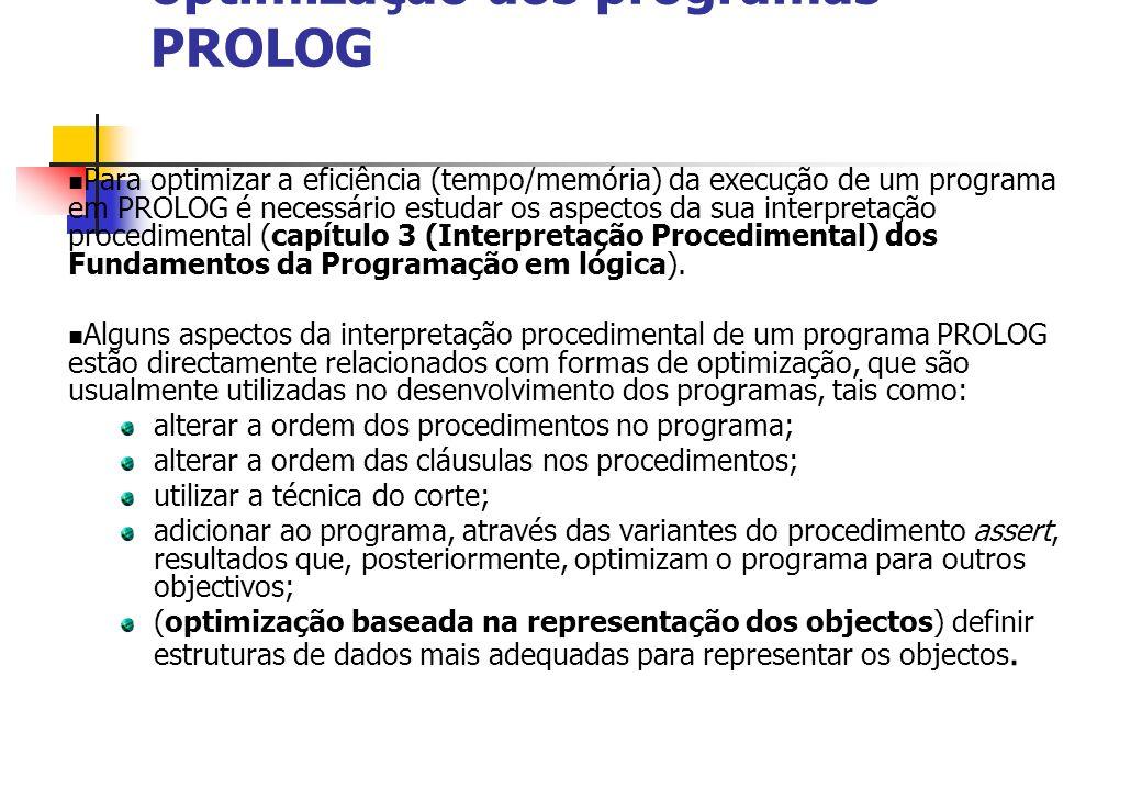 optimização dos programas PROLOG