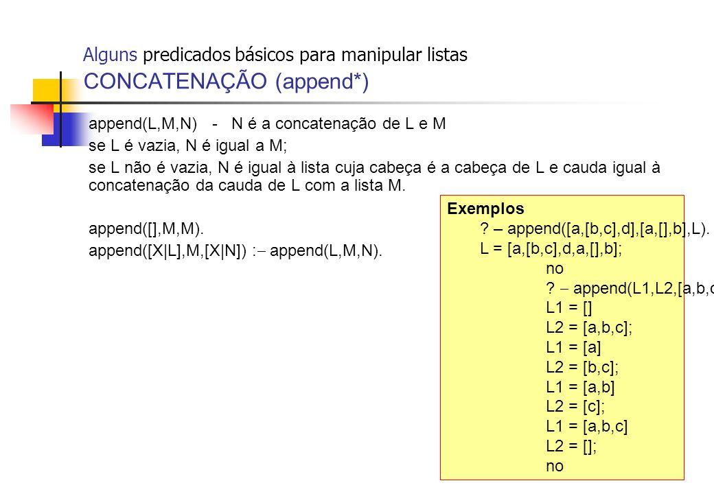Alguns predicados básicos para manipular listas CONCATENAÇÃO (append*)
