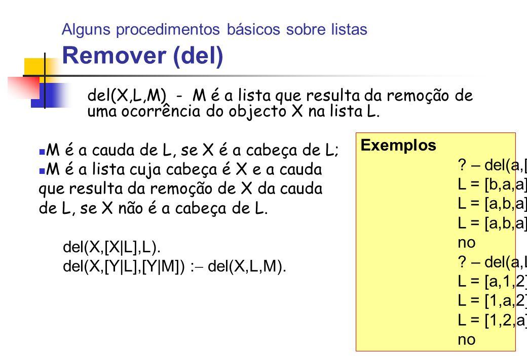 Alguns procedimentos básicos sobre listas Remover (del)