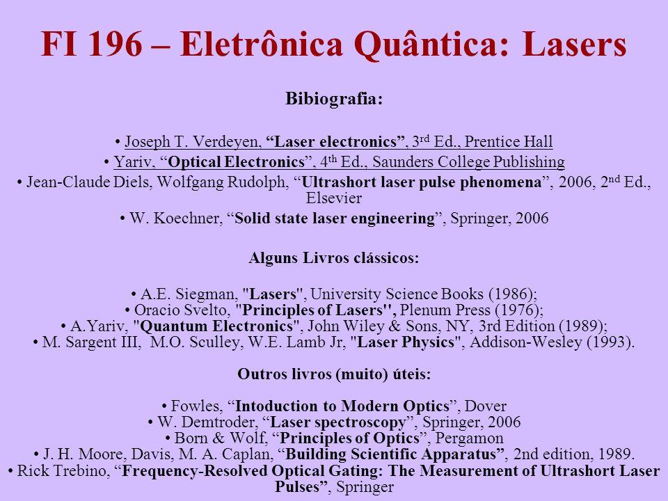 FI 196 – Eletrônica Quântica: Lasers