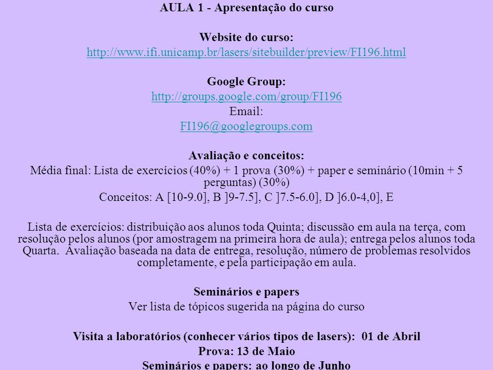 AULA 1 - Apresentação do curso Website do curso:
