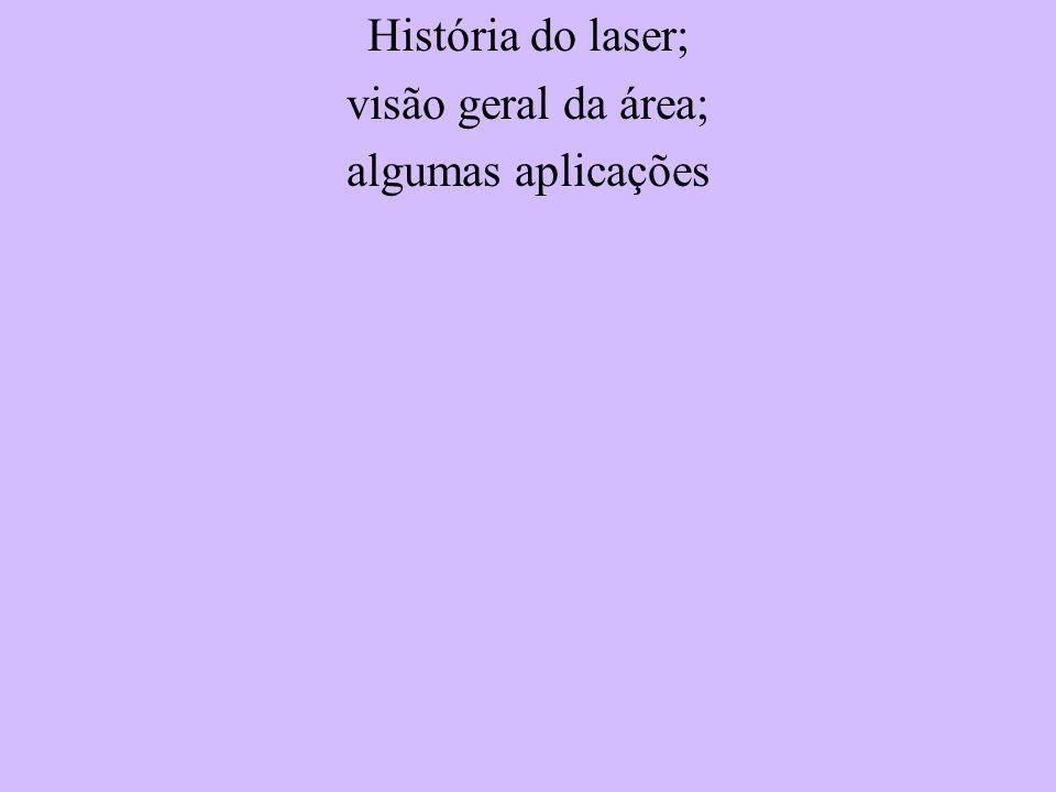 História do laser; visão geral da área; algumas aplicações