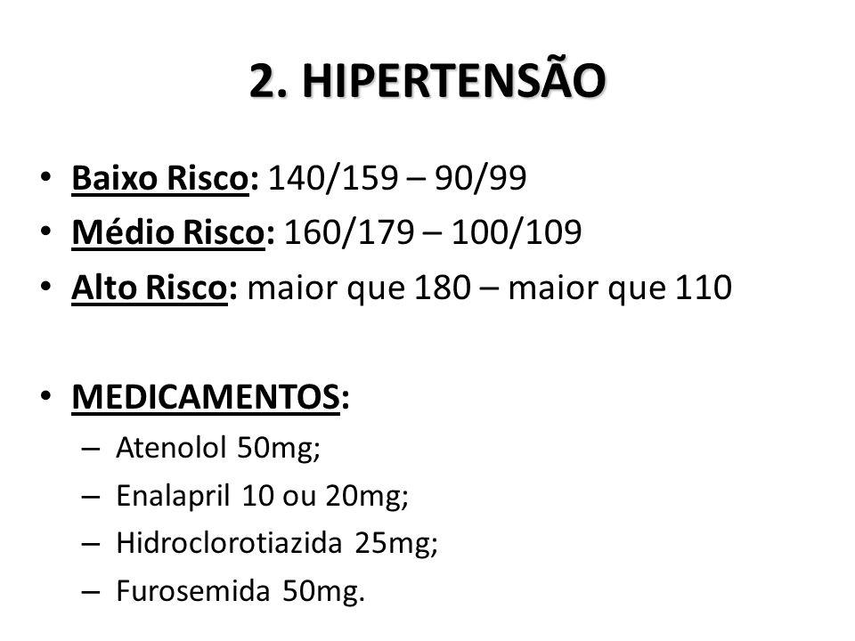 2. HIPERTENSÃO Baixo Risco: 140/159 – 90/99