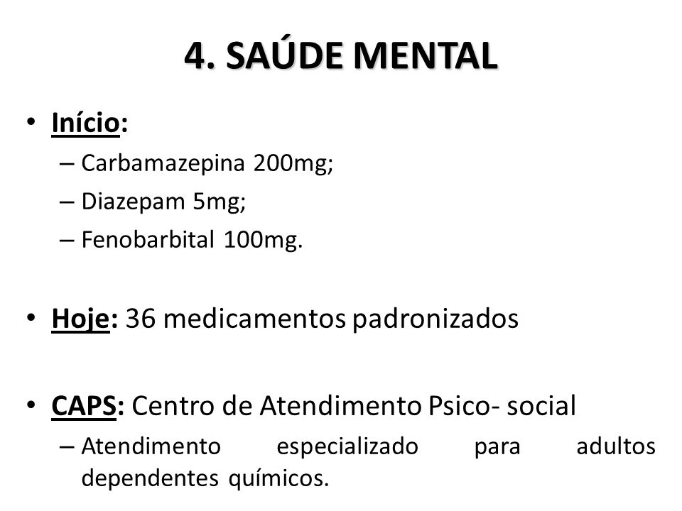 4. SAÚDE MENTAL Início: Hoje: 36 medicamentos padronizados