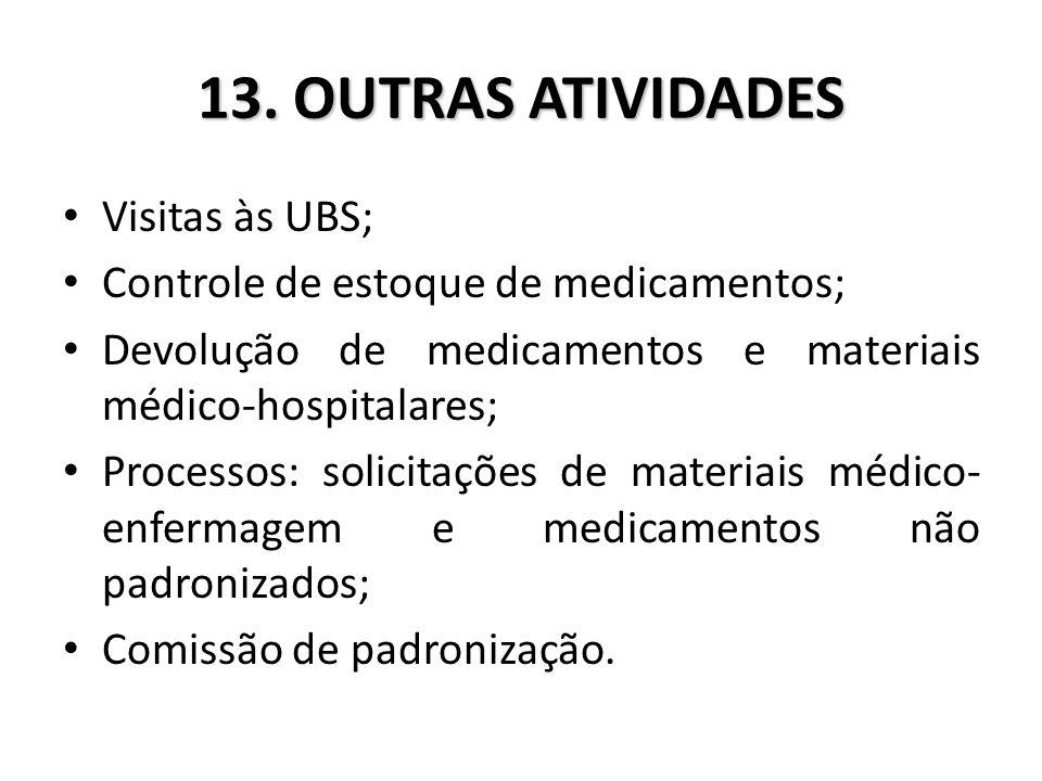 13. OUTRAS ATIVIDADES Visitas às UBS;