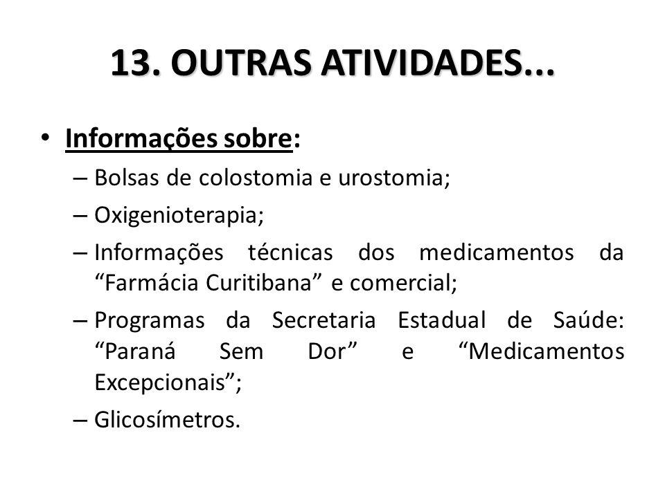 13. OUTRAS ATIVIDADES... Informações sobre: