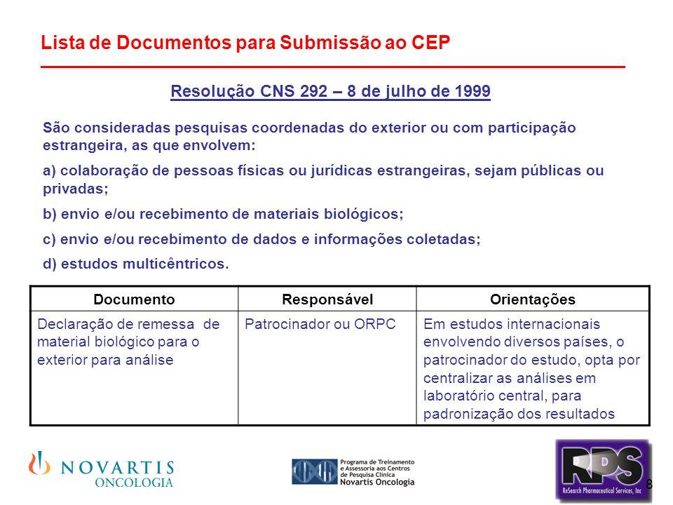 Resolução CNS 292 – 8 de julho de 1999