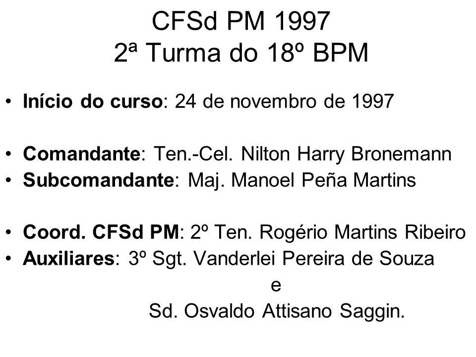 CFSd PM 1997 2ª Turma do 18º BPM Início do curso: 24 de novembro de 1997. Comandante: Ten.-Cel. Nilton Harry Bronemann.
