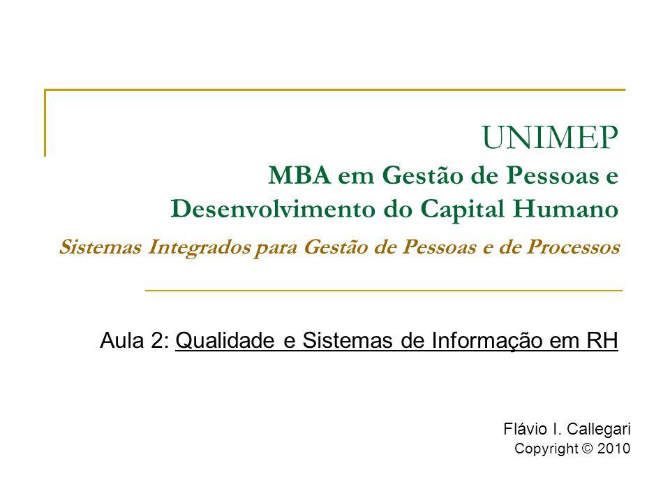 Aula 2: Qualidade e Sistemas de Informação em RH