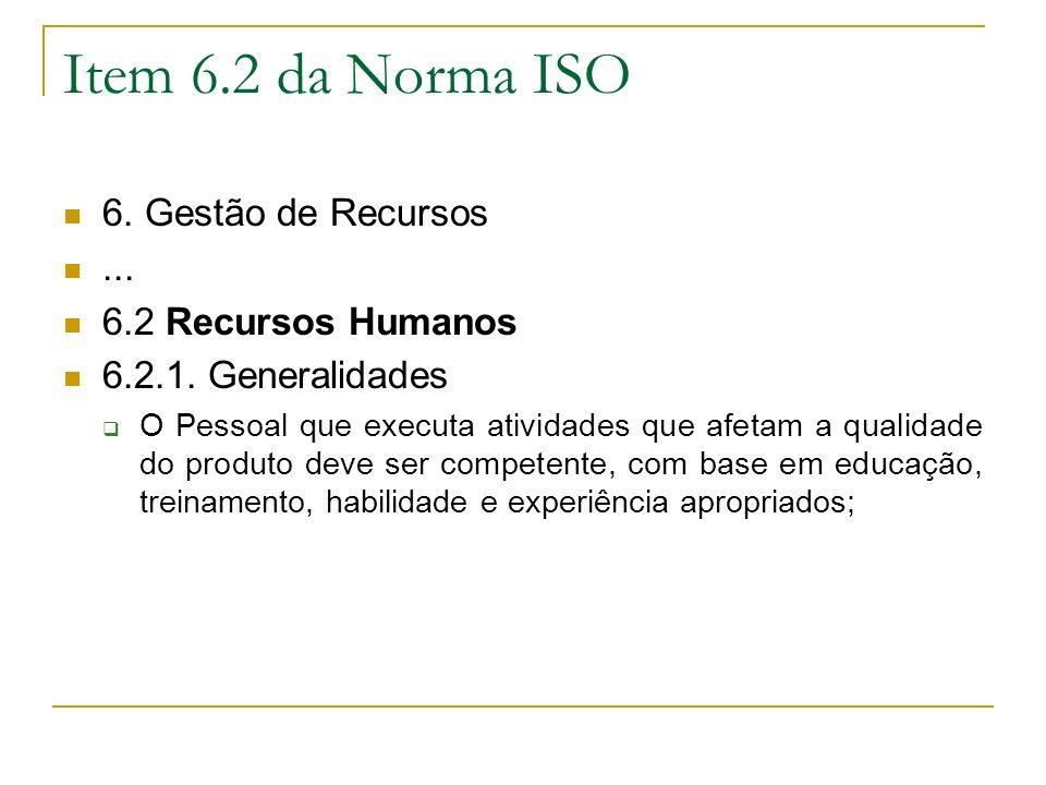 Item 6.2 da Norma ISO 6. Gestão de Recursos ... 6.2 Recursos Humanos