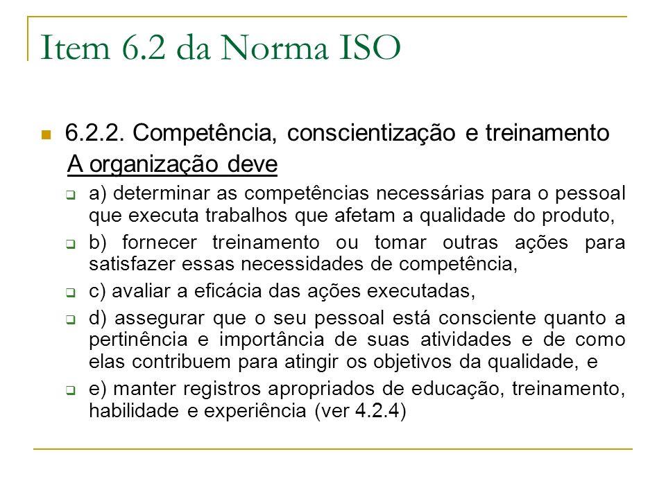 Item 6.2 da Norma ISO 6.2.2. Competência, conscientização e treinamento. A organização deve.