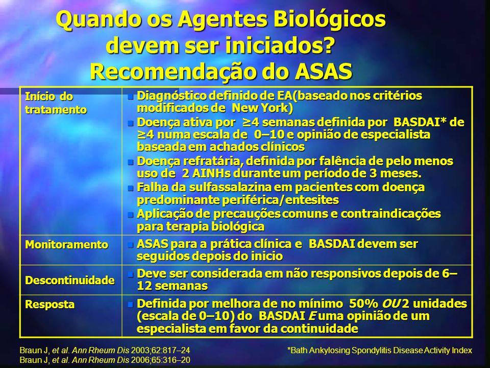 Quando os Agentes Biológicos devem ser iniciados Recomendação do ASAS