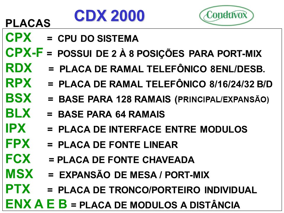 CDX 2000 PLACAS. CPX = CPU DO SISTEMA. CPX-F = POSSUI DE 2 À 8 POSIÇÕES PARA PORT-MIX. RDX = PLACA DE RAMAL TELEFÔNICO 8ENL/DESB.