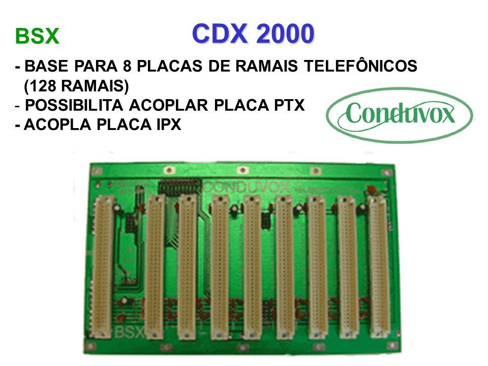 CDX 2000 BSX - BASE PARA 8 PLACAS DE RAMAIS TELEFÔNICOS (128 RAMAIS)