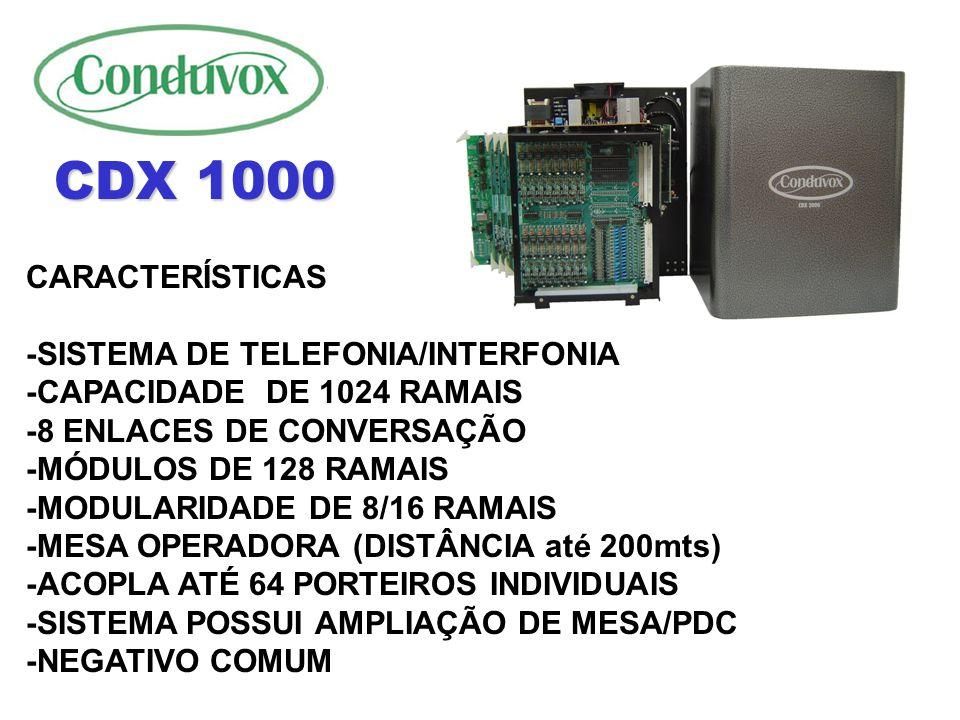 CDX 1000 CARACTERÍSTICAS -SISTEMA DE TELEFONIA/INTERFONIA
