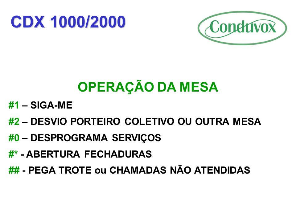 CDX 1000/2000 OPERAÇÃO DA MESA #1 – SIGA-ME