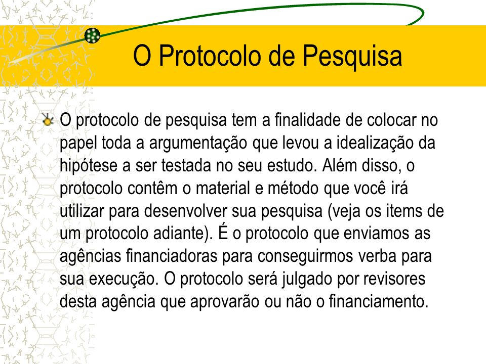 O Protocolo de Pesquisa
