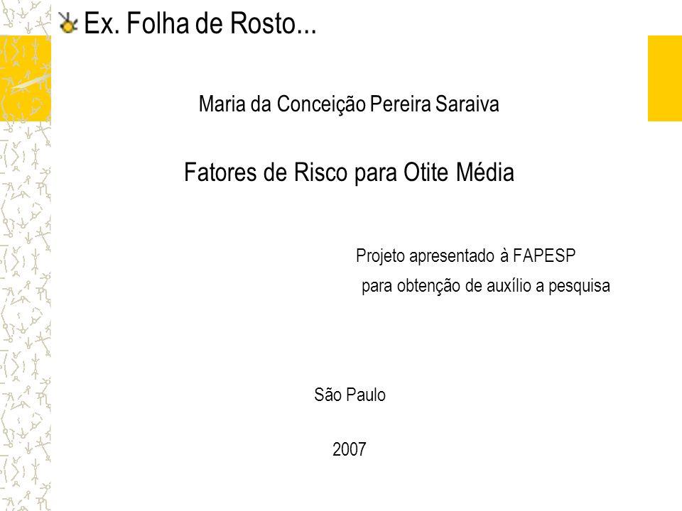 Projeto apresentado à FAPESP