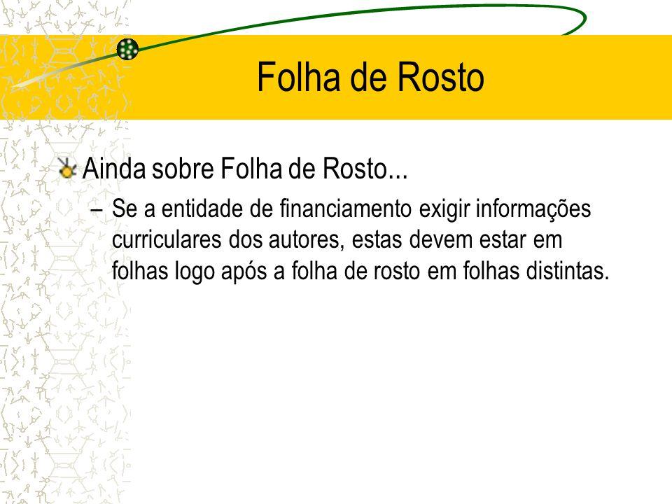 Folha de Rosto Ainda sobre Folha de Rosto...