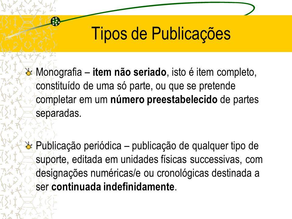 Tipos de Publicações