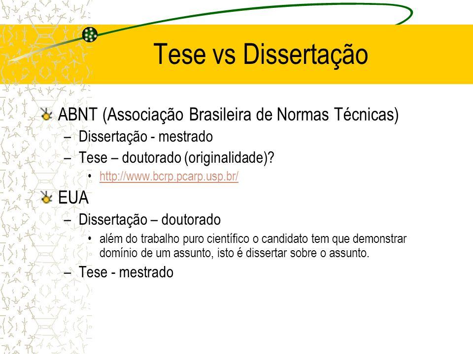 Tese vs Dissertação ABNT (Associação Brasileira de Normas Técnicas)
