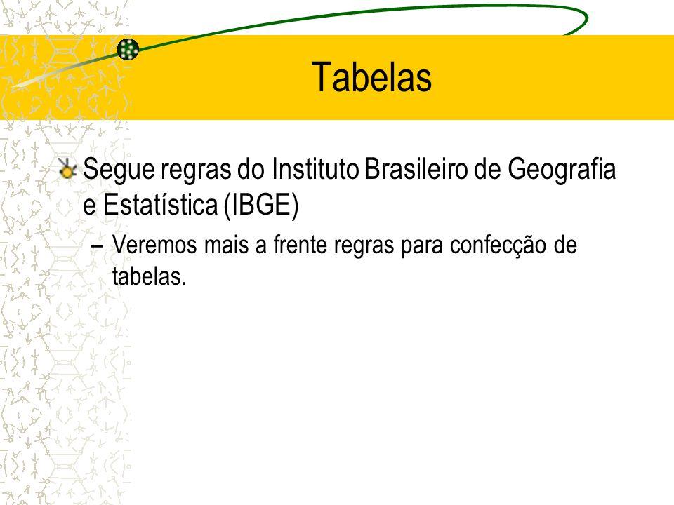 Tabelas Segue regras do Instituto Brasileiro de Geografia e Estatística (IBGE) Veremos mais a frente regras para confecção de tabelas.