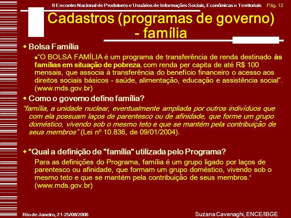 Cadastros (programas de governo) - família