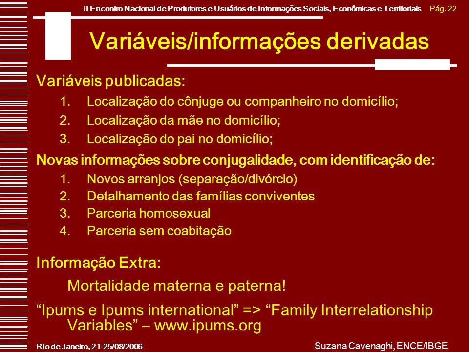 Variáveis/informações derivadas