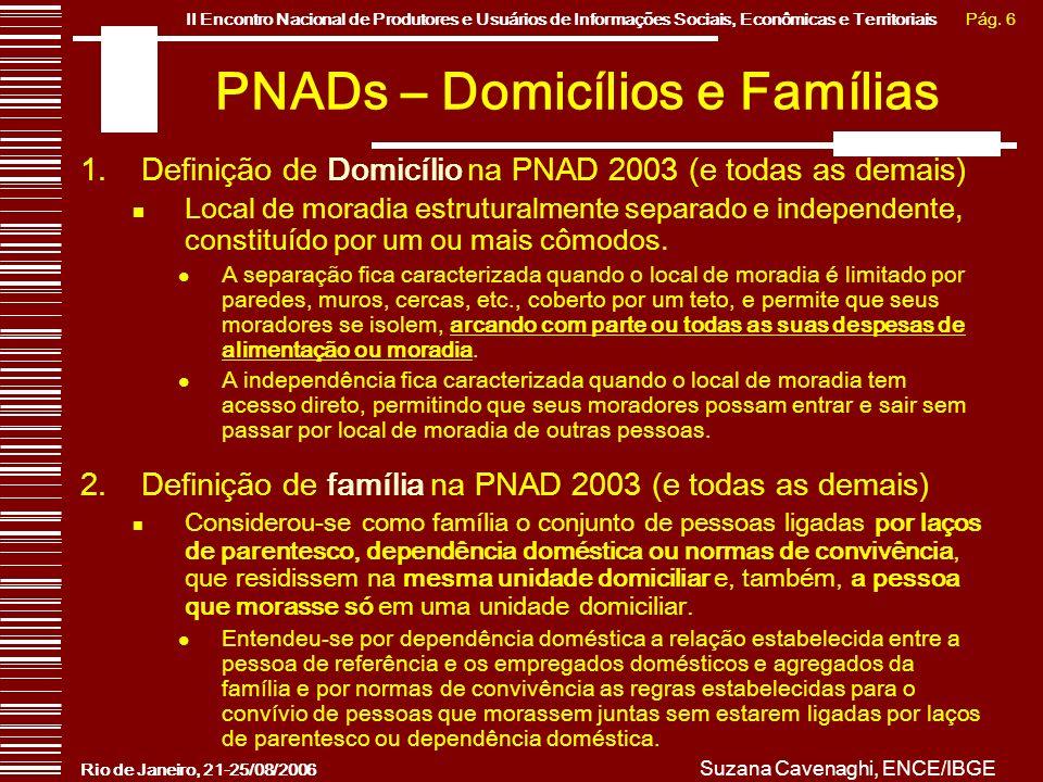 PNADs – Domicílios e Famílias