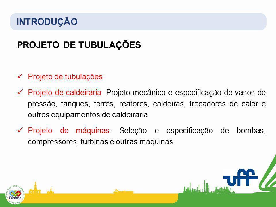 INTRODUÇÃO PROJETO DE TUBULAÇÕES Projeto de tubulações