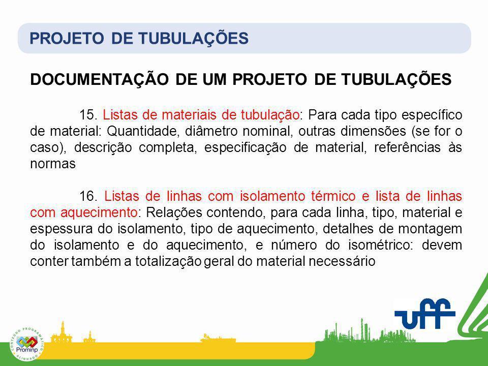 DOCUMENTAÇÃO DE UM PROJETO DE TUBULAÇÕES