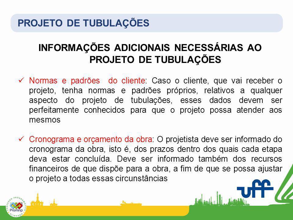 INFORMAÇÕES ADICIONAIS NECESSÁRIAS AO PROJETO DE TUBULAÇÕES