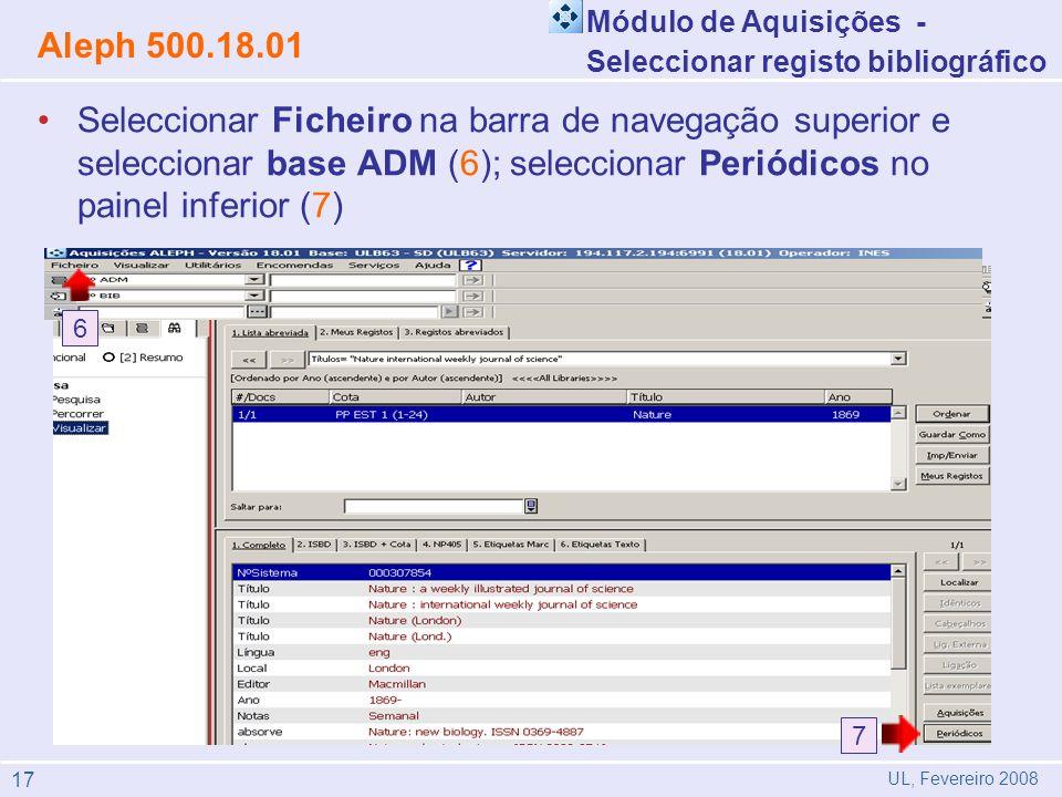 Módulo de Aquisições - Seleccionar registo bibliográfico. Aleph 500.18.01.