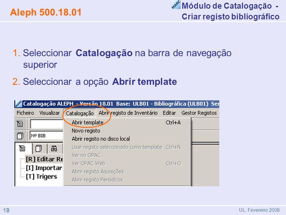 1. Seleccionar Catalogação na barra de navegação superior