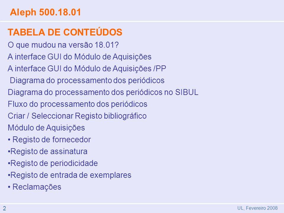 Aleph 500.18.01 TABELA DE CONTEÚDOS O que mudou na versão 18.01