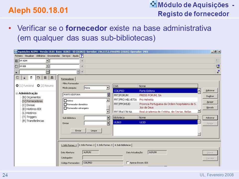 Módulo de Aquisições - Registo de fornecedor. Aleph 500.18.01.