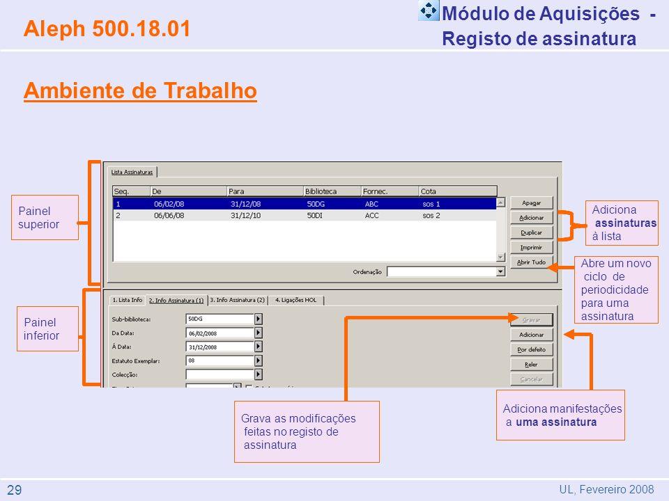Aleph 500.18.01 Ambiente de Trabalho Módulo de Aquisições -