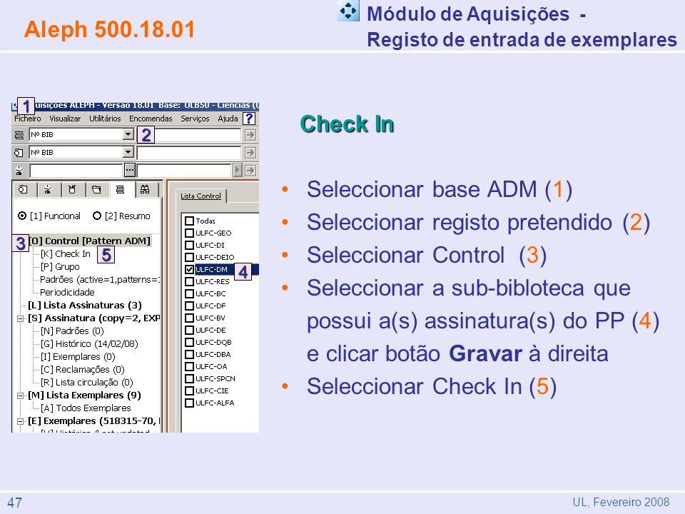 Seleccionar base ADM (1) Seleccionar registo pretendido (2)