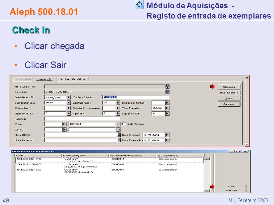 Aleph 500.18.01 Check In Clicar chegada Clicar Sair