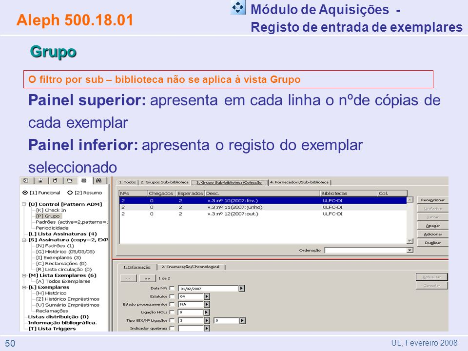 Painel inferior: apresenta o registo do exemplar seleccionado