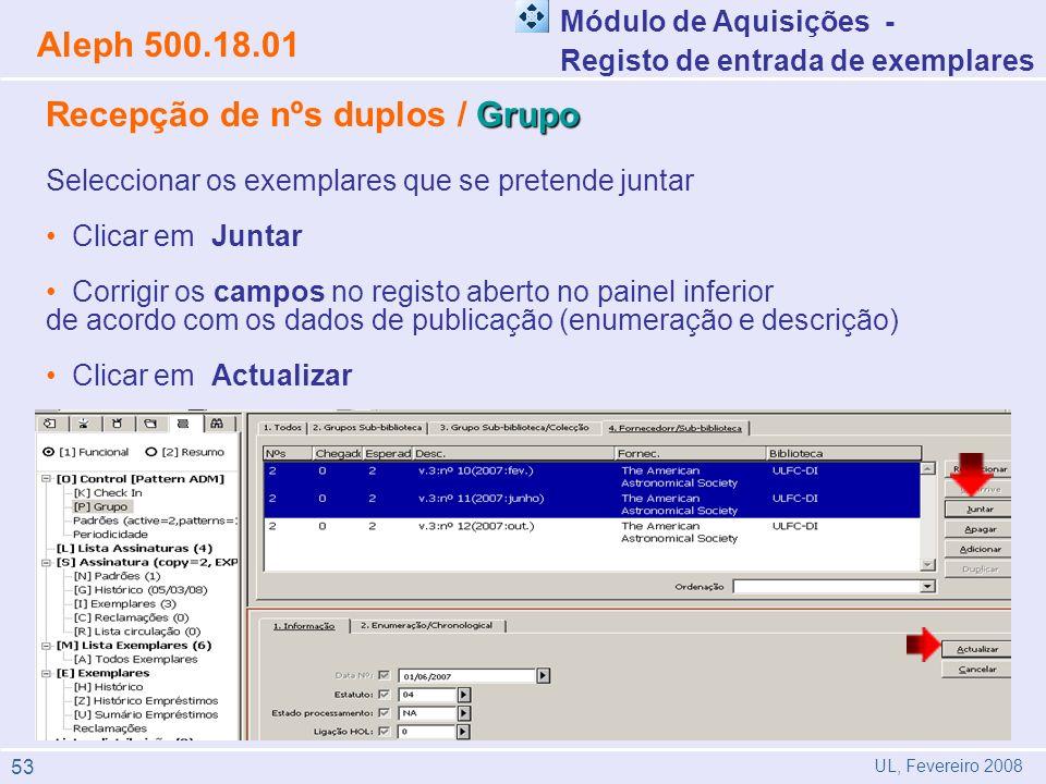 Recepção de nºs duplos / Grupo