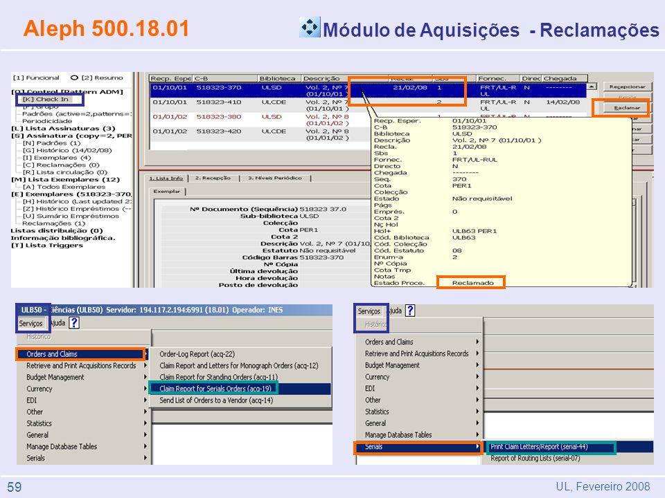 Aleph 500.18.01 Módulo de Aquisições - Reclamações 59