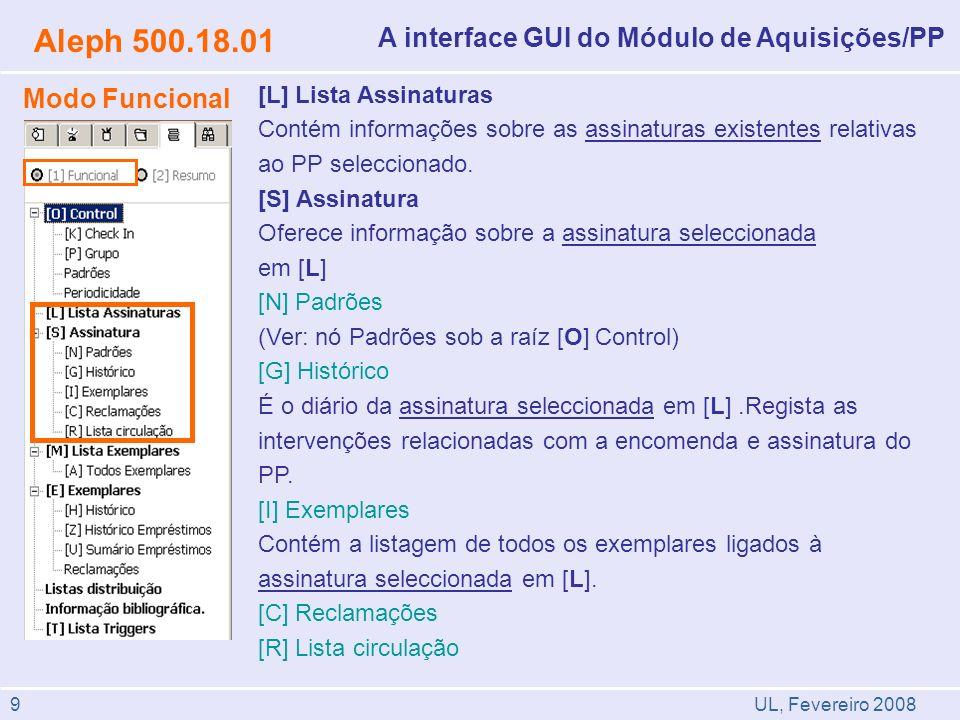 Aleph 500.18.01 A interface GUI do Módulo de Aquisições/PP
