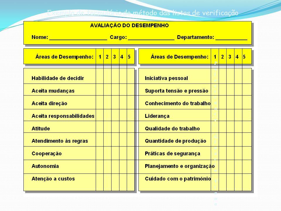 Exemplo de formulário do método das listas de verificação