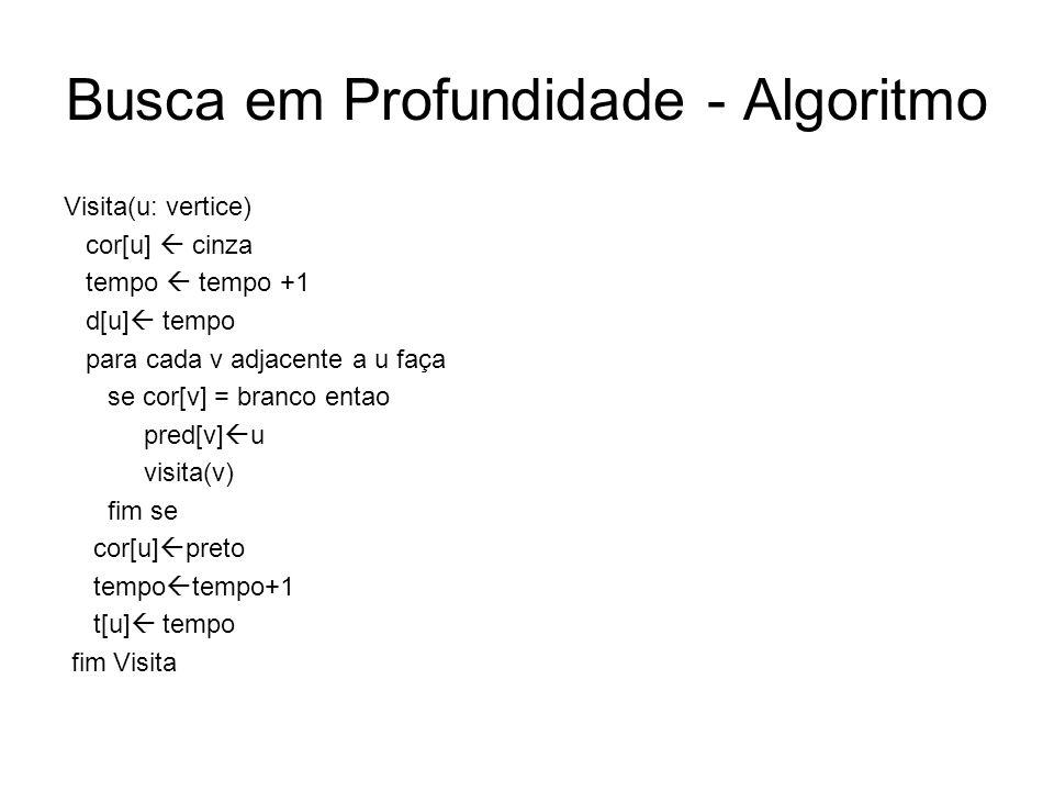 Busca em Profundidade - Algoritmo