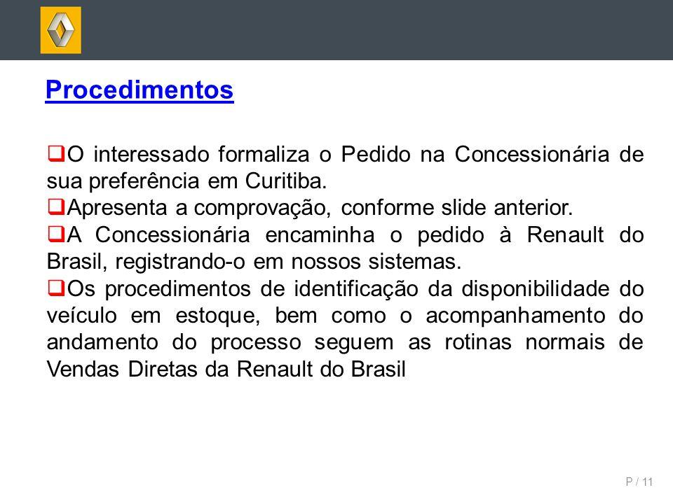 Procedimentos O interessado formaliza o Pedido na Concessionária de sua preferência em Curitiba. Apresenta a comprovação, conforme slide anterior.