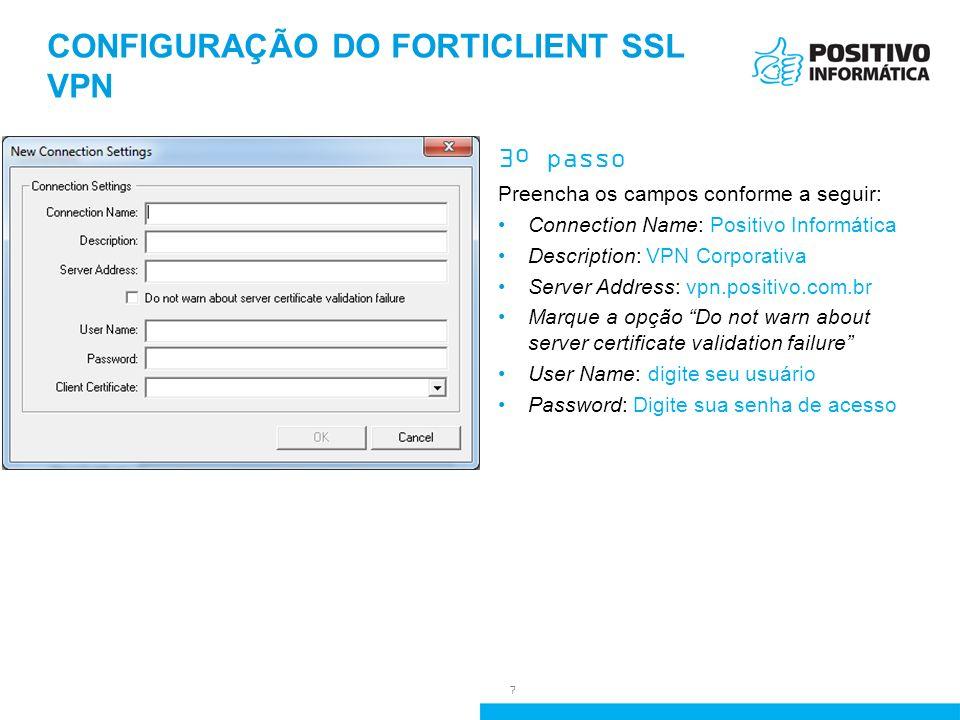 configuração do forticlient ssl vpn