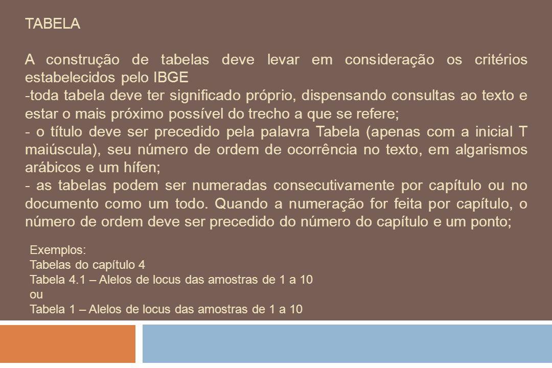 TABELA A construção de tabelas deve levar em consideração os critérios estabelecidos pelo IBGE.