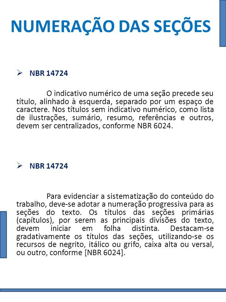 NUMERAÇÃO DAS SEÇÕES NBR 14724