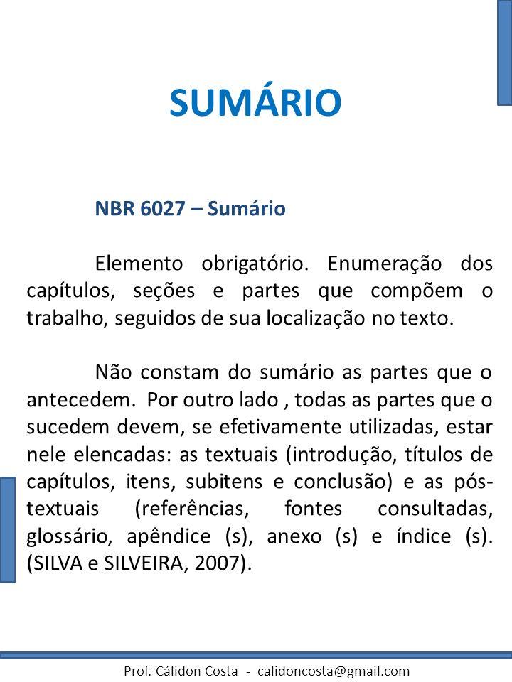 SUMÁRIO NBR 6027 – Sumário.